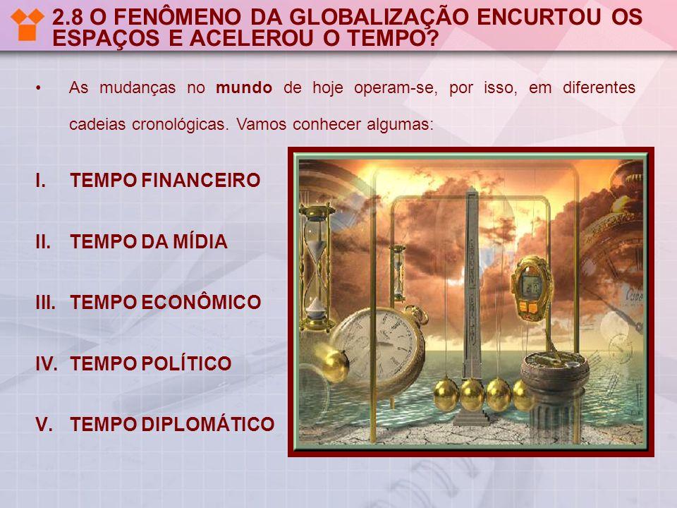 2.9 TEMPO FINANCEIRO O tempo financeiro, ou o tempo on-line dos fluxos financeiros, que, na sua volatilidade, vêm produzindo crises sucessivas nos países de mercados emergentes.