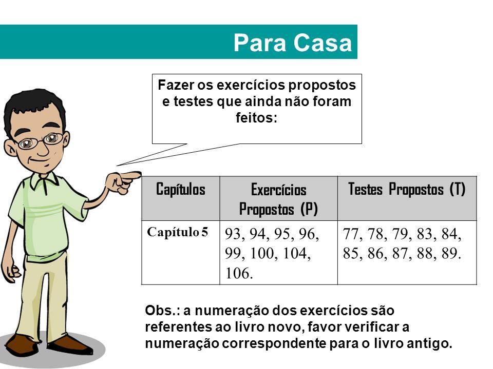 Para Casa Fazer os exercícios propostos e testes que ainda não foram feitos: CapítulosExercícios Propostos (P) Testes Propostos (T) Capítulo 5 93, 94, 95, 96, 99, 100, 104, 106.
