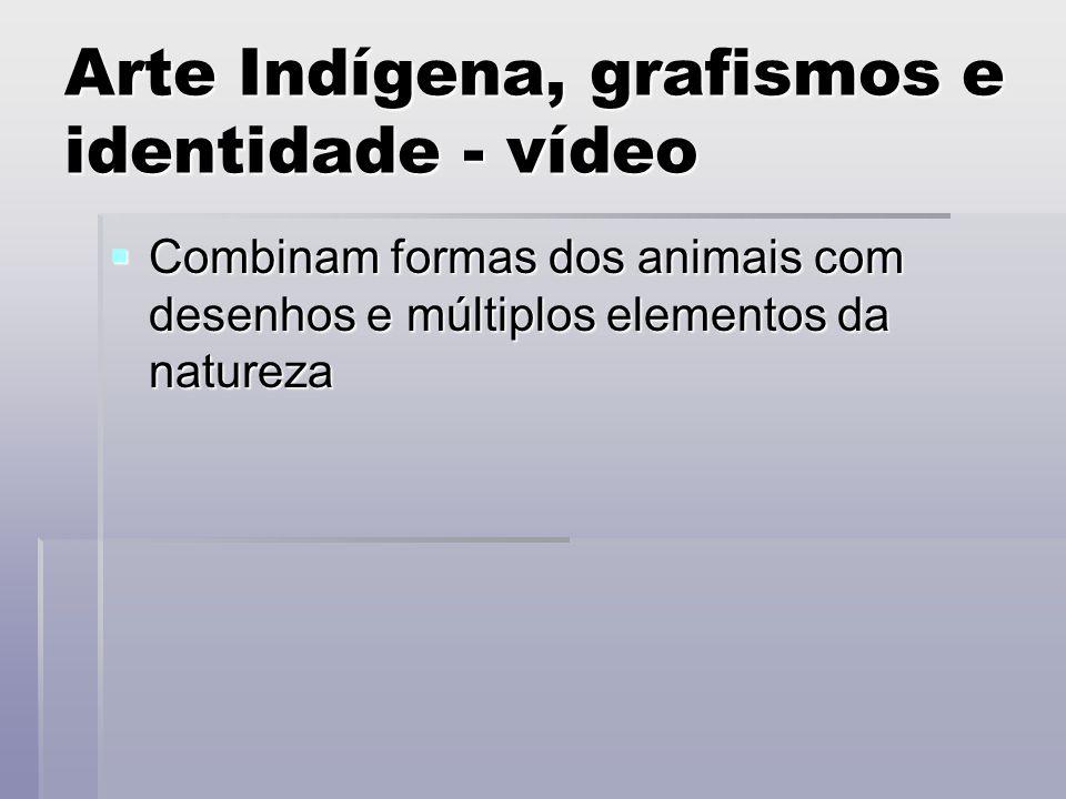 Arte Indígena, grafismos e identidade - vídeo Combinam formas dos animais com desenhos e múltiplos elementos da natureza Combinam formas dos animais c