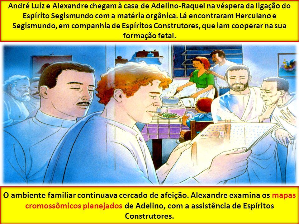 André Luiz e Alexandre chegam à casa de Adelino-Raquel na véspera da ligação do Espírito Segismundo com a matéria orgânica. Lá encontraram Herculano e