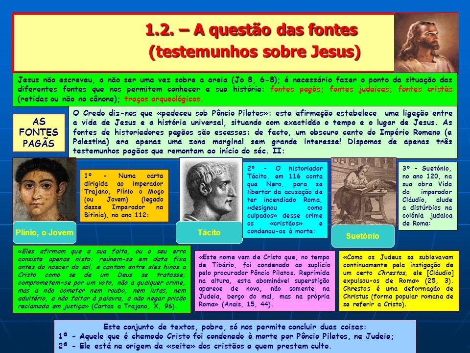 1.2. – A questão das fontes (testemunhos sobre Jesus) 1.2. – A questão das fontes (testemunhos sobre Jesus) Jesus não escreveu, a não ser uma vez sobr