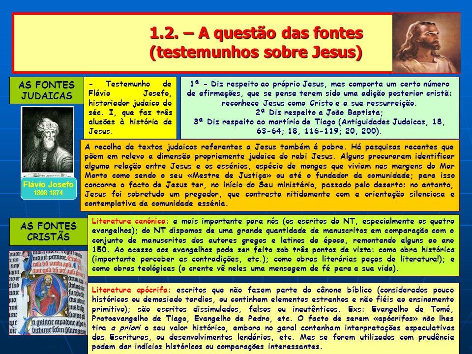 1.2. – A questão das fontes (testemunhos sobre Jesus) 1.2. – A questão das fontes (testemunhos sobre Jesus) AS FONTES JUDAICAS Flávio Josefo 1808-1874
