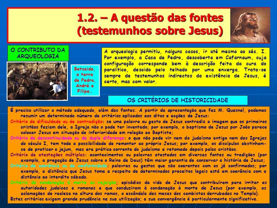 1.2. – A questão das fontes (testemunhos sobre Jesus) 1.2. – A questão das fontes (testemunhos sobre Jesus) O CONTRIBUTO DA ARQUEOLOGIA A arqueologia