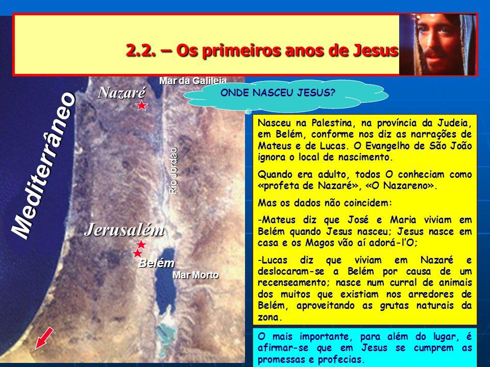 Nazaré Jerusalém Mar da Galileia Mar Morto Rio Jordão Mediterrâneo 2.2. – Os primeiros anos de Jesus 2.2. – Os primeiros anos de Jesus ONDE NASCEU JES