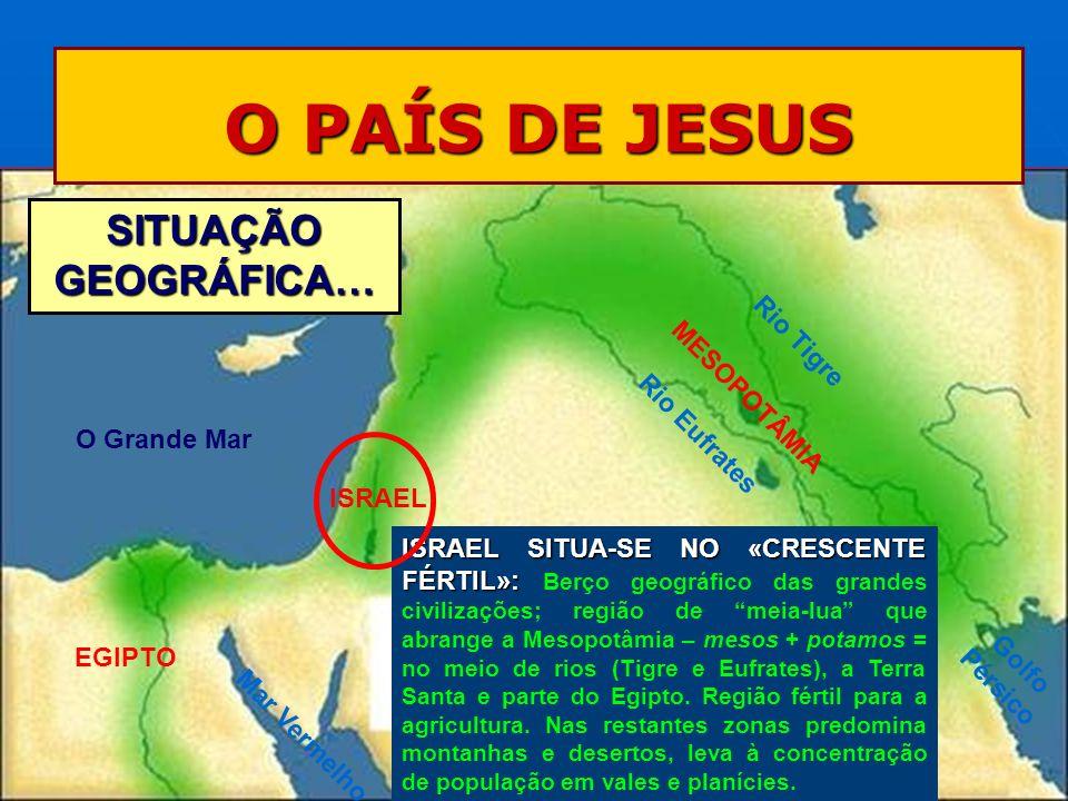 O PAÍS DE JESUS SITUAÇÃO GEOGRÁFICA… ISRAEL SITUA-SE NO «CRESCENTE FÉRTIL»: ISRAEL SITUA-SE NO «CRESCENTE FÉRTIL»: Berço geográfico das grandes civili