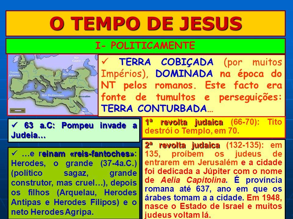 O TEMPO DE JESUS I- POLITICAMENTE TERRA COBIÇADA (por muitos Impérios), DOMINADA na época do NT pelos romanos. Este facto era fonte de tumultos e pers