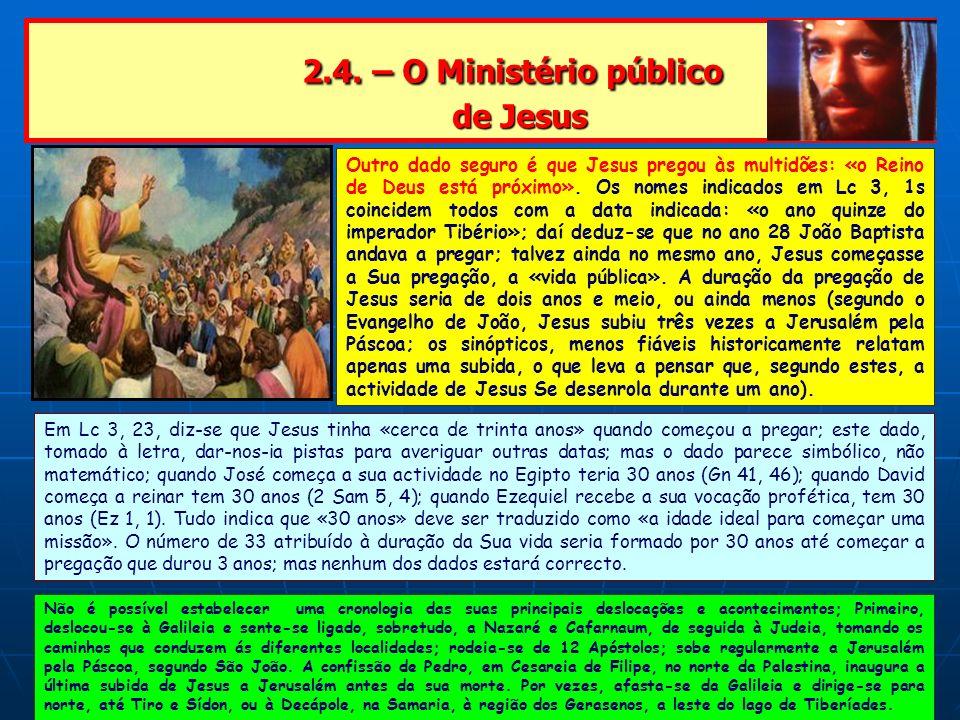 2.4. – O Ministério público de Jesus 2.4. – O Ministério público de Jesus Outro dado seguro é que Jesus pregou às multidões: «o Reino de Deus está pró