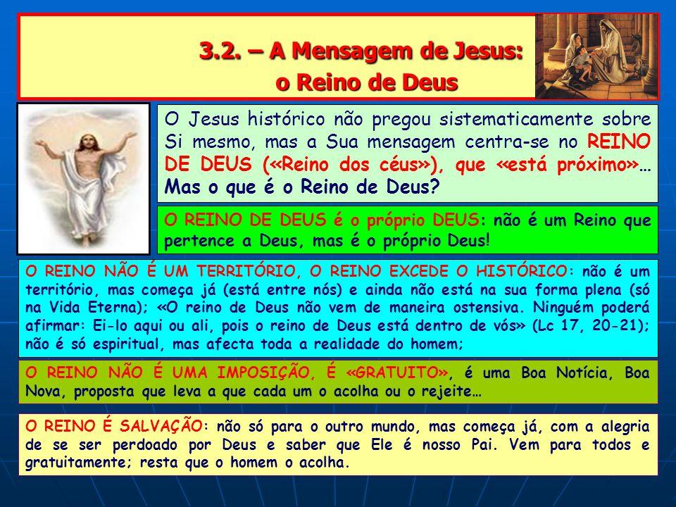 3.2. – A Mensagem de Jesus: o Reino de Deus 3.2. – A Mensagem de Jesus: o Reino de Deus O Jesus histórico não pregou sistematicamente sobre Si mesmo,