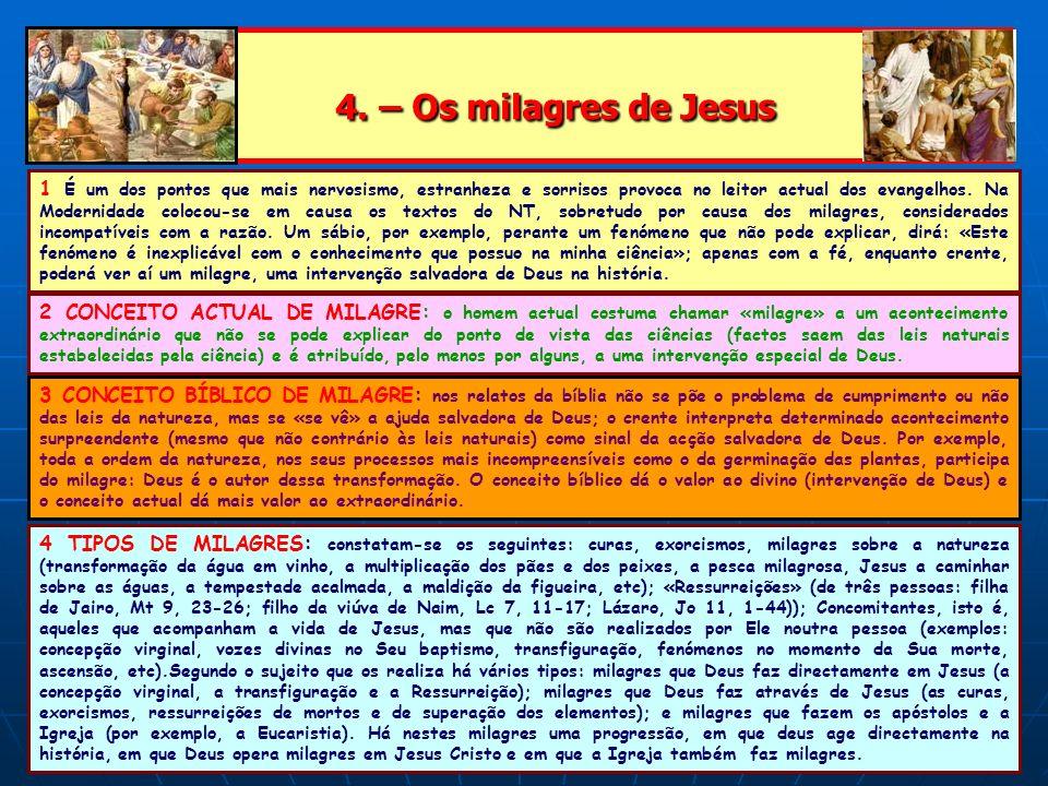 4. – Os milagres de Jesus 4. – Os milagres de Jesus 1 É um dos pontos que mais nervosismo, estranheza e sorrisos provoca no leitor actual dos evangelh