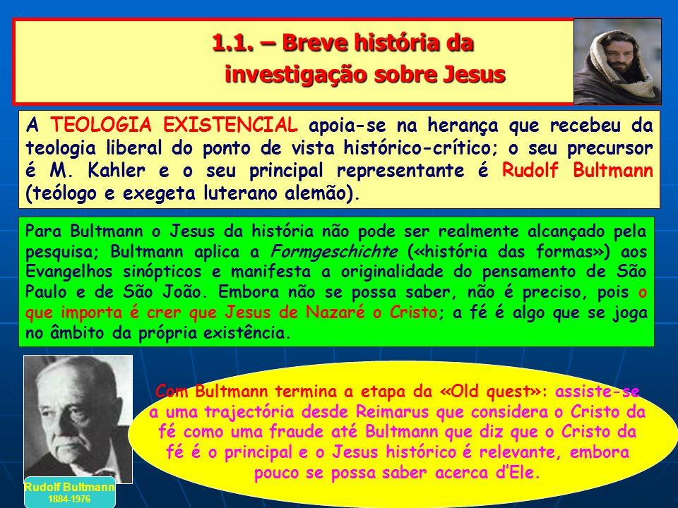 1.1. – Breve história da investigação sobre Jesus 1.1. – Breve história da investigação sobre Jesus A TEOLOGIA EXISTENCIAL apoia-se na herança que rec
