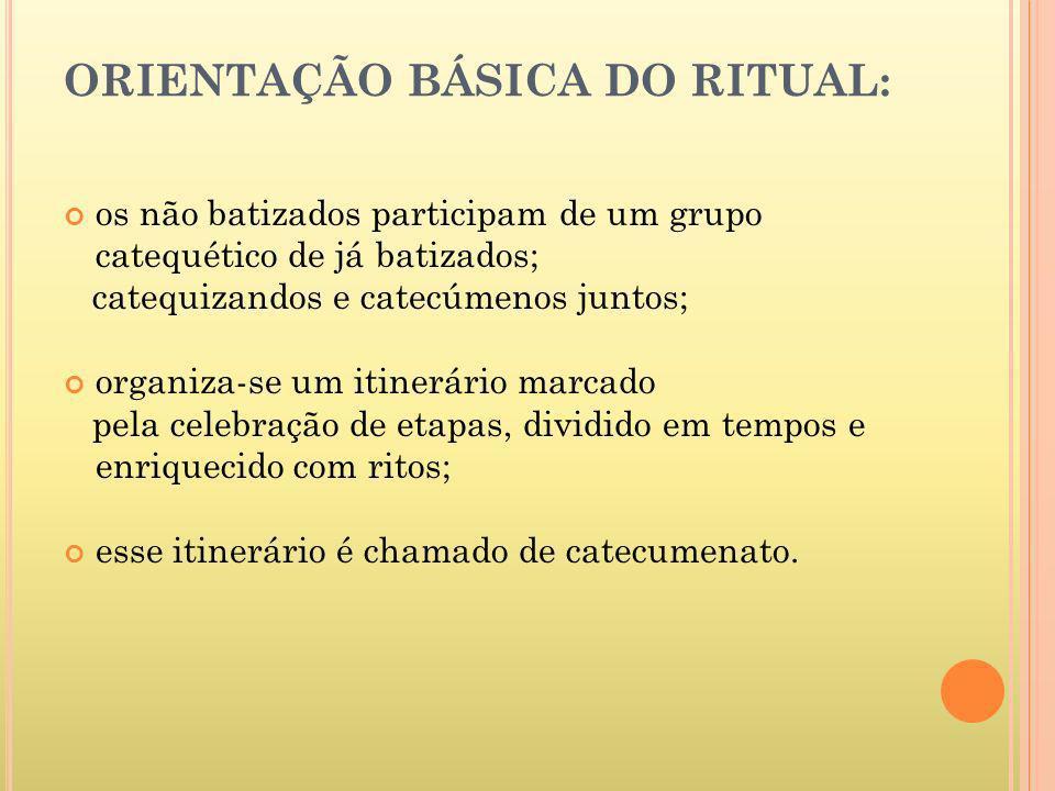 ORIENTAÇÃO BÁSICA DO RITUAL: os não batizados participam de um grupo catequético de já batizados; catequizandos e catecúmenos juntos; organiza-se um i