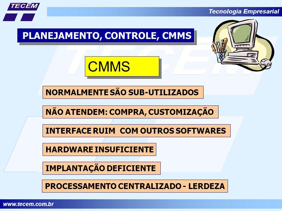 www.tecem.com.br Tecnologia Empresarial PLANEJAMENTO, CONTROLE, CMMS CMMS NORMALMENTE SÃO SUB-UTILIZADOS NÃO ATENDEM: COMPRA, CUSTOMIZAÇÃO IMPLANTAÇÃO DEFICIENTE INTERFACE RUIM COM OUTROS SOFTWARES HARDWARE INSUFICIENTE PROCESSAMENTO CENTRALIZADO - LERDEZA