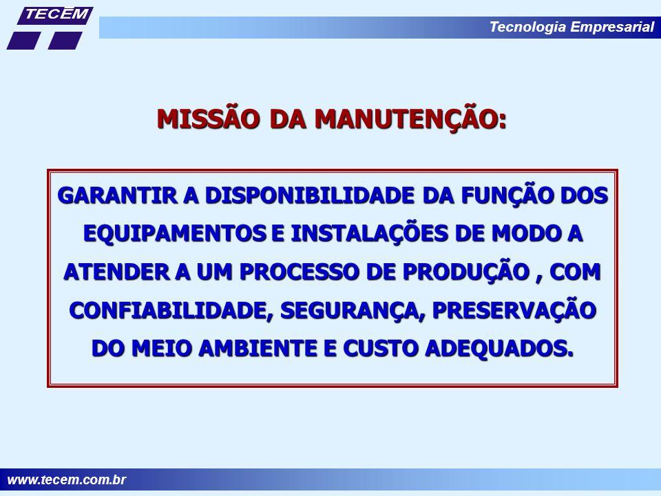 www.tecem.com.br Tecnologia Empresarial GARANTIR A DISPONIBILIDADE DA FUNÇÃO DOS EQUIPAMENTOS E INSTALAÇÕES DE MODO A ATENDER A UM PROCESSO DE PRODUÇÃO, COM CONFIABILIDADE, SEGURANÇA, PRESERVAÇÃO DO MEIO AMBIENTE E CUSTO ADEQUADOS.