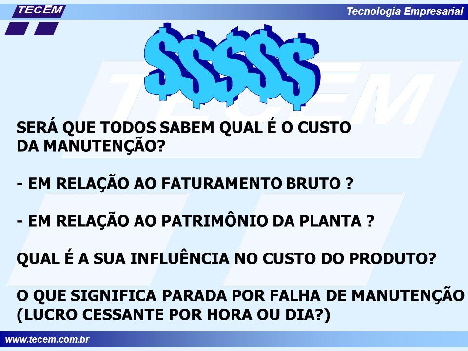 www.tecem.com.br Tecnologia Empresarial SERÁ QUE TODOS SABEM QUAL É O CUSTO DA MANUTENÇÃO.