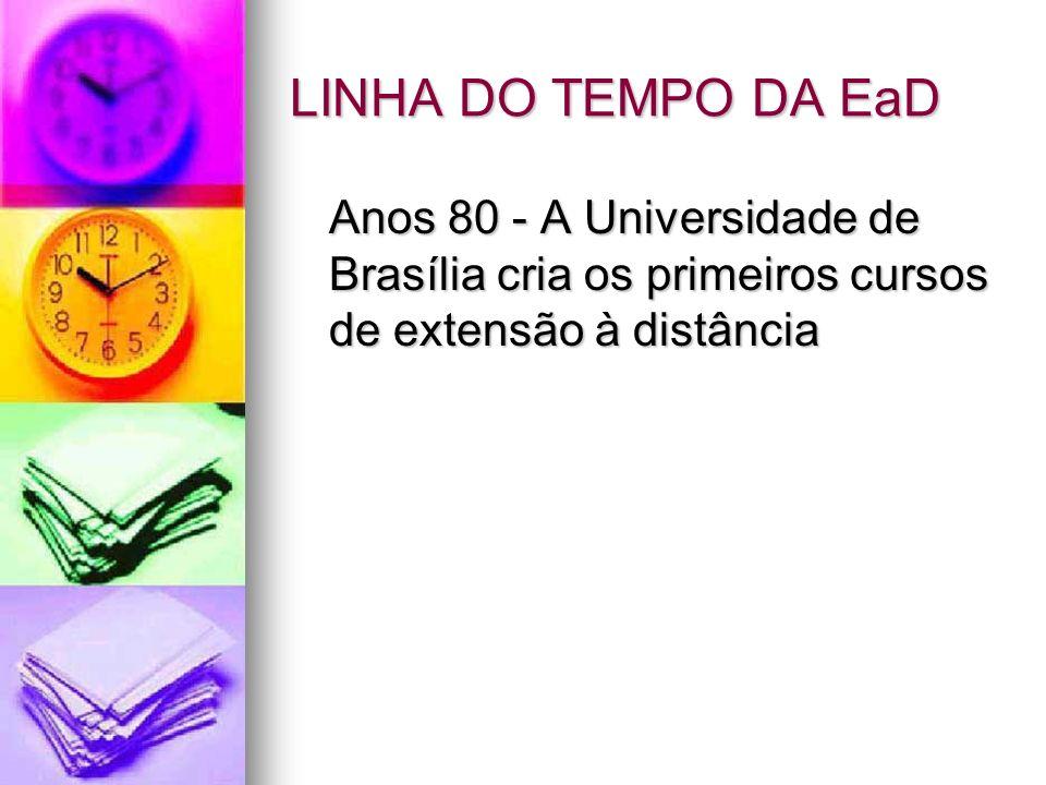 LINHA DO TEMPO DA EaD Anos 80 - A Universidade de Brasília cria os primeiros cursos de extensão à distância