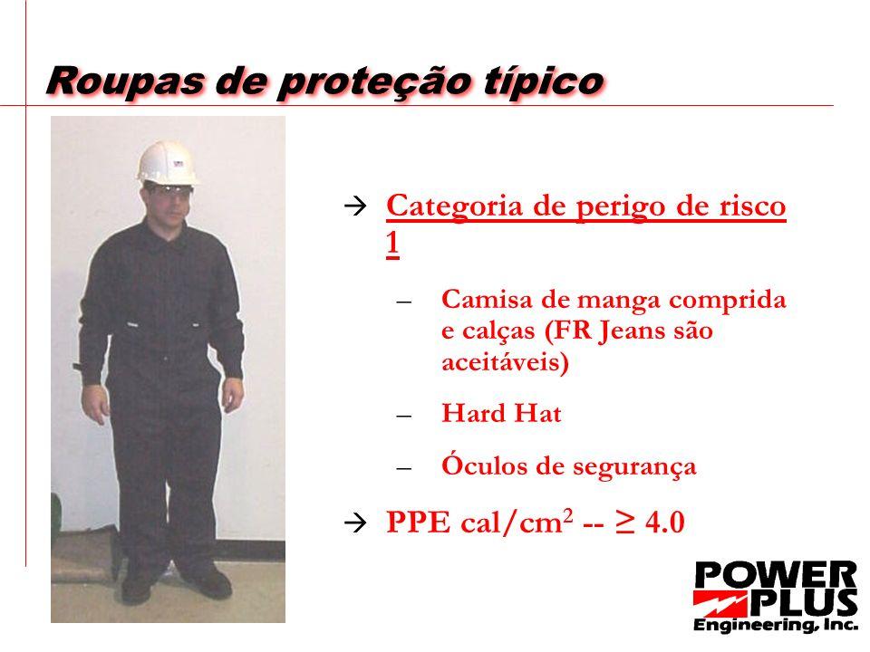 Exemplo 2 O arco voltaico no exemplo 2 foi reduzido para um nível de energia incidente 2.32 Cal/cm 2 Essa tarefa exigiria HRC 1 PPE para executar esta