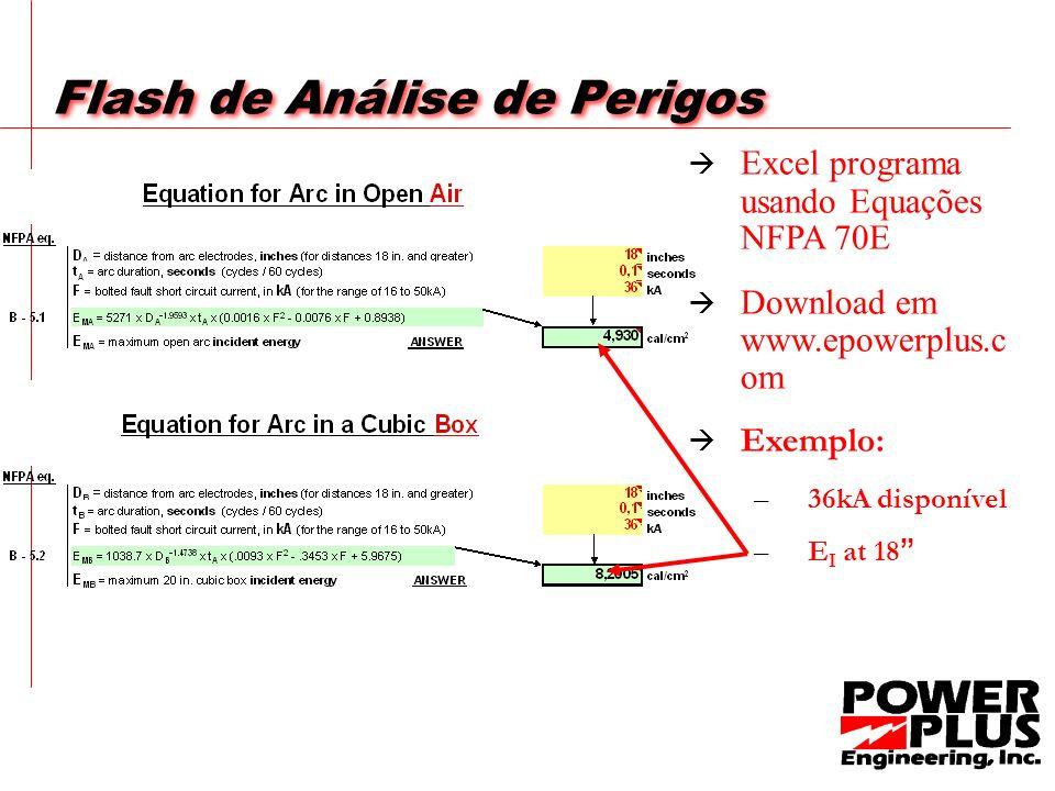 Flash de Análise de Perigos Excel programa usando Equações NFPA 70E Download em www.epowerplus.c om Exemplo: –3–36kA disponível –E–E I at 18
