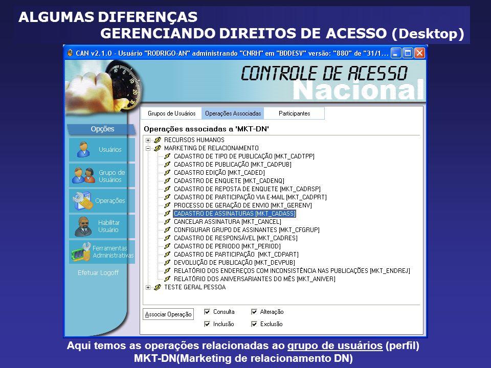 Aqui temos as operações relacionadas ao grupo de usuários (perfil) MKT-DN(Marketing de relacionamento DN) ALGUMAS DIFERENÇAS GERENCIANDO DIREITOS DE ACESSO (Desktop)