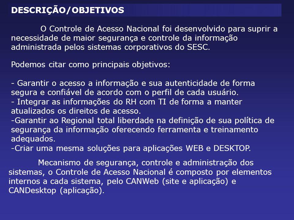 O Controle de Acesso Nacional foi desenvolvido para suprir a necessidade de maior segurança e controle da informação administrada pelos sistemas corpo