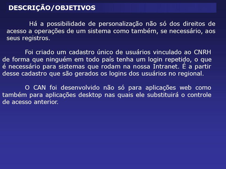 RECURSOS Senha criptografada O CAN utiliza algoritmo de criptografia de 64 bits para dados críticos, o que garante a confidencialidade da sua senha.