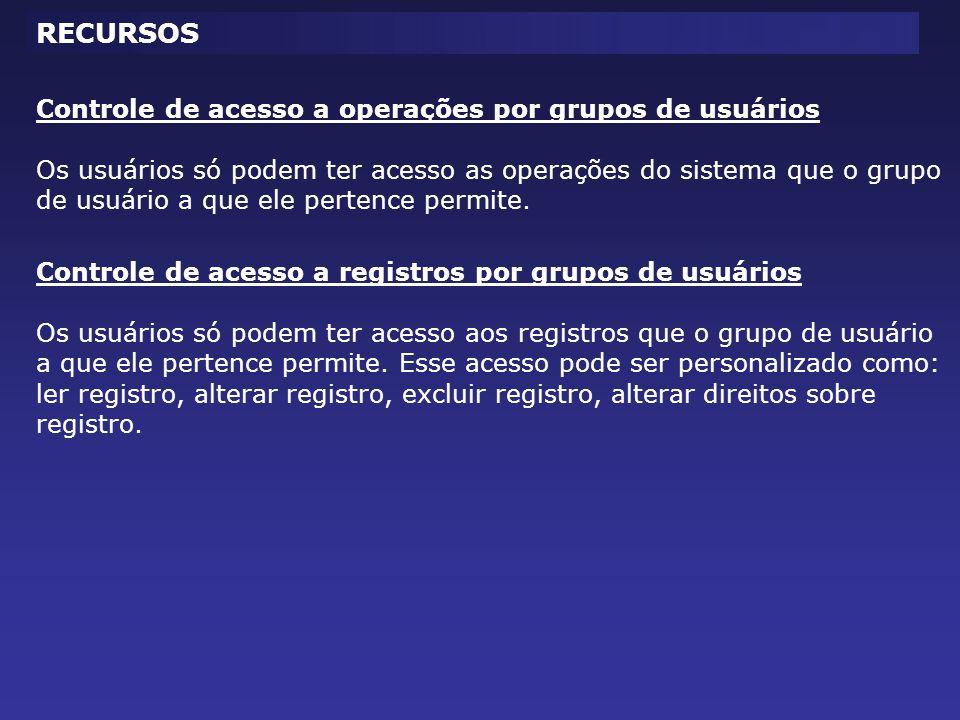 Controle de acesso a operações por grupos de usuários Os usuários só podem ter acesso as operações do sistema que o grupo de usuário a que ele pertence permite.