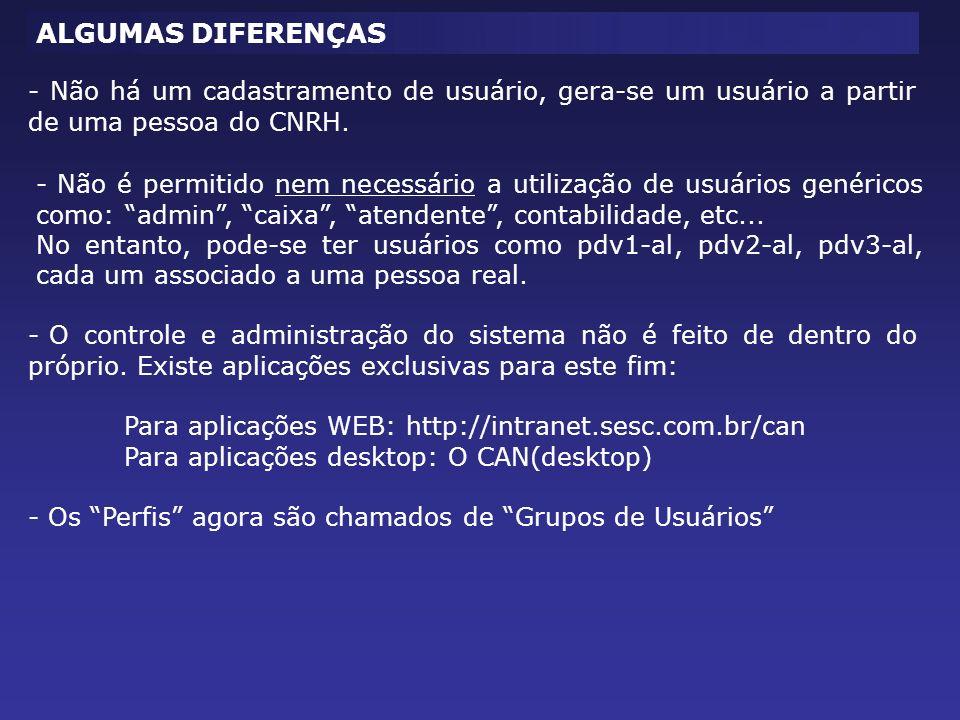 ALGUMAS DIFERENÇAS - Não há um cadastramento de usuário, gera-se um usuário a partir de uma pessoa do CNRH. - Não é permitido nem necessário a utiliza