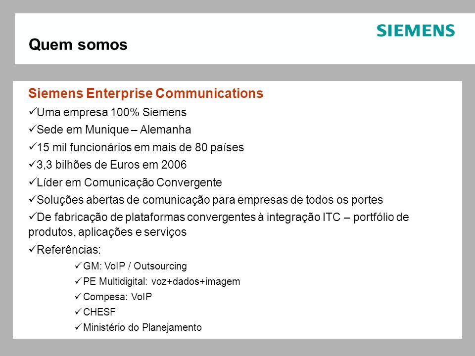 Siemens Enterprise Communications Uma empresa 100% Siemens Sede em Munique – Alemanha 15 mil funcionários em mais de 80 países 3,3 bilhões de Euros em