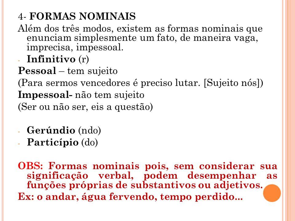 4- FORMAS NOMINAIS Além dos três modos, existem as formas nominais que enunciam simplesmente um fato, de maneira vaga, imprecisa, impessoal. - Infinit