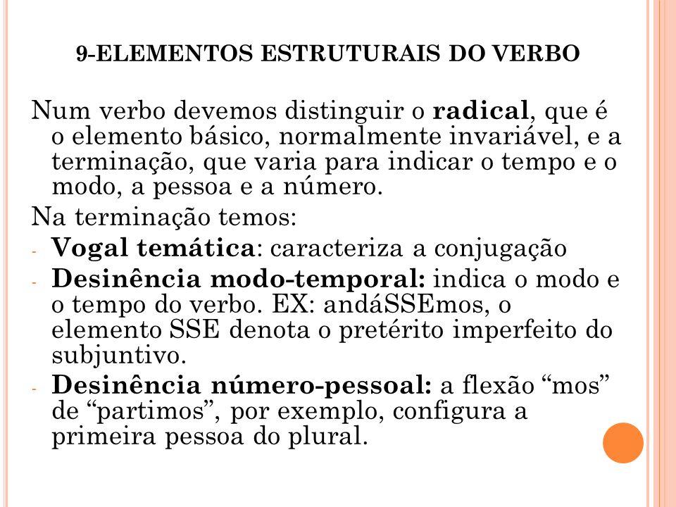 9-ELEMENTOS ESTRUTURAIS DO VERBO Num verbo devemos distinguir o radical, que é o elemento básico, normalmente invariável, e a terminação, que varia pa