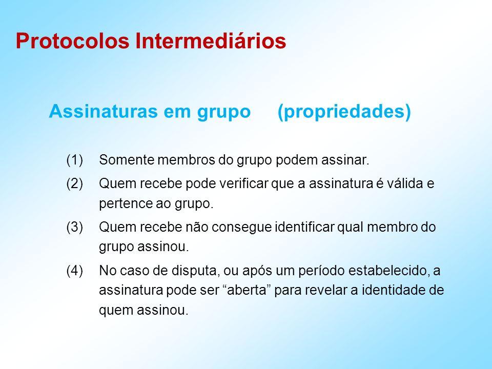 Protocolos Intermediários Assinaturas em grupo (propriedades) (1)Somente membros do grupo podem assinar.
