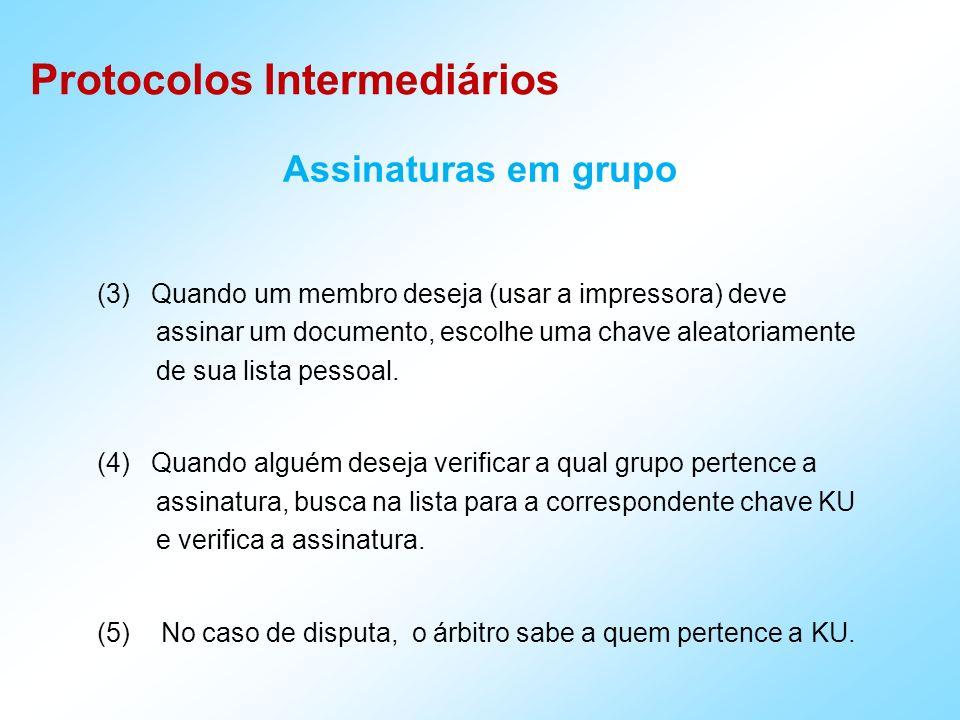 Protocolos Intermediários Assinaturas em grupo (3) Quando um membro deseja (usar a impressora) deve assinar um documento, escolhe uma chave aleatoriamente de sua lista pessoal.