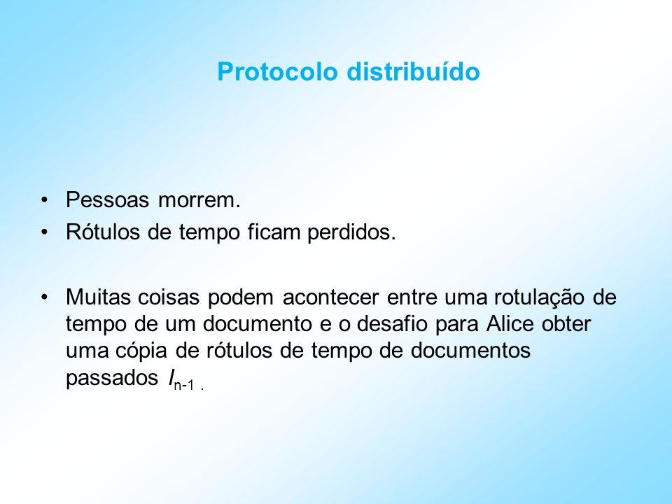 Protocolo distribuído Este problema pode ser aliviado por considerar, por exemplo, os prévios rótulos de tempo de k pessoas, gerados aleatoriamente por Alice, e então, Alice enviar para cada uma dessas os identificadores das próximas k pessoas.