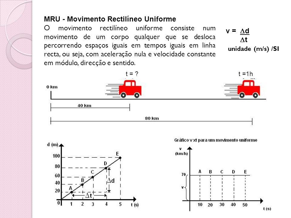 MRU - Movimento Rectilíneo Uniforme O movimento rectilíneo uniforme consiste num movimento de um corpo qualquer que se desloca percorrendo espaços igu