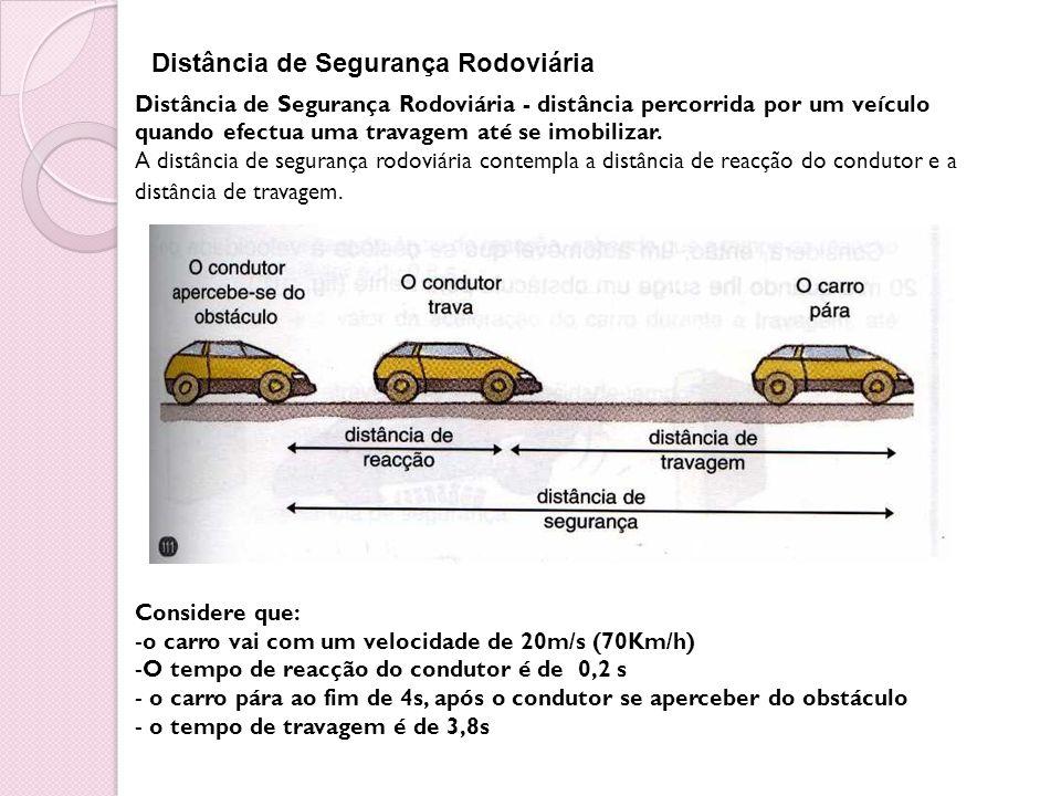 Distância de Segurança Rodoviária Distância de Segurança Rodoviária - distância percorrida por um veículo quando efectua uma travagem até se imobiliza