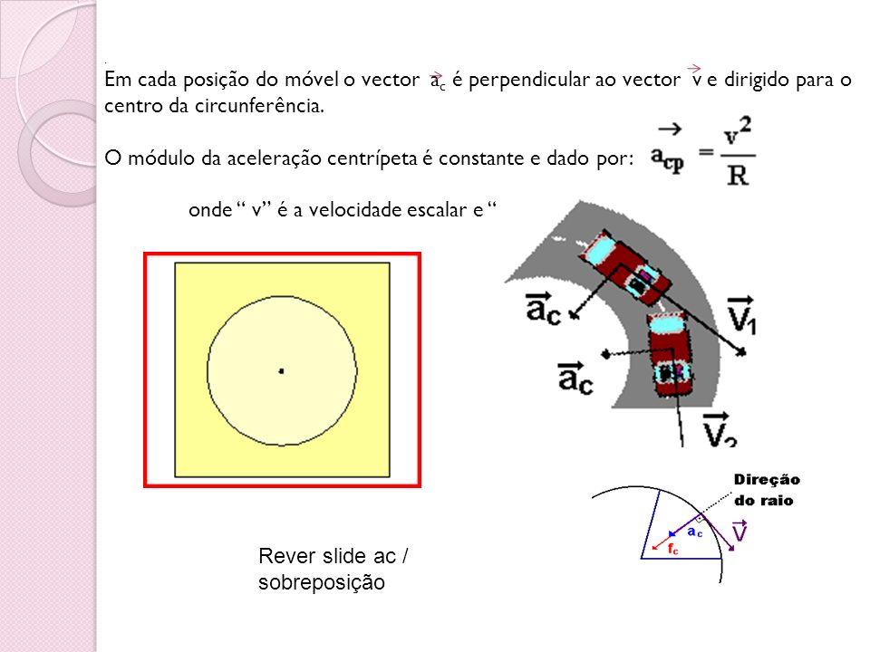. Em cada posição do móvel o vector a c é perpendicular ao vector v e dirigido para o centro da circunferência. O módulo da aceleração centrípeta é co