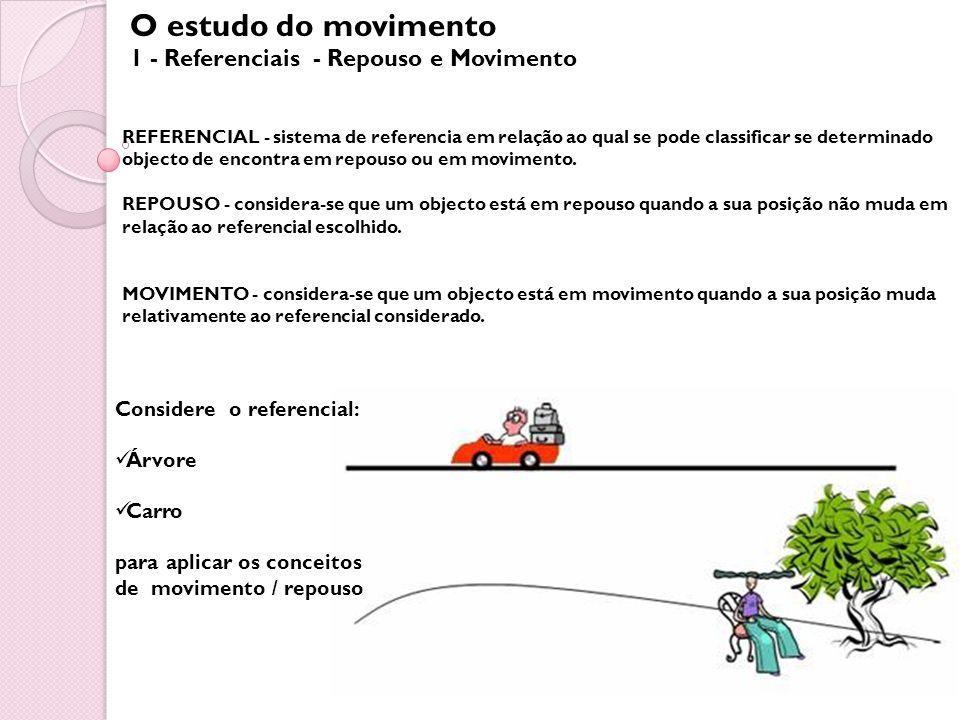 O estudo do movimento 1 - Referenciais - Repouso e Movimento REFERENCIAL - sistema de referencia em relação ao qual se pode classificar se determinado