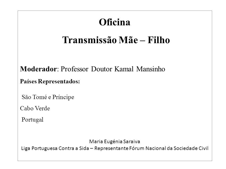 Oficina Transmissão Mãe – Filho Moderador: Professor Doutor Kamal Mansinho Países Representados: São Tomé e Príncipe Cabo Verde Portugal Maria Eugénia