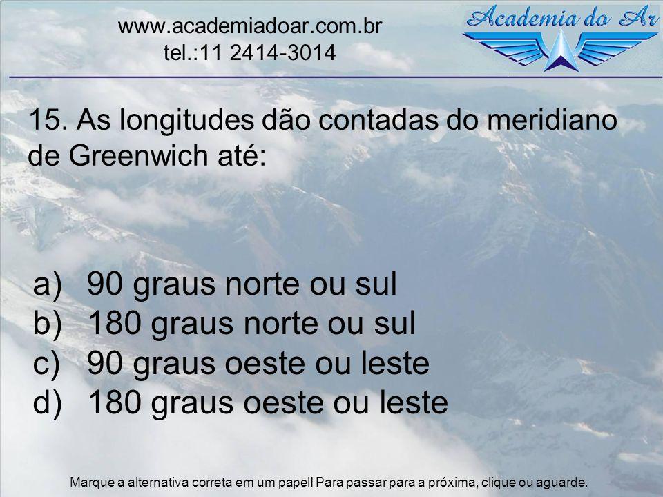 15. As longitudes dão contadas do meridiano de Greenwich até: www.academiadoar.com.br tel.:11 2414-3014 a)90 graus norte ou sul b)180 graus norte ou s