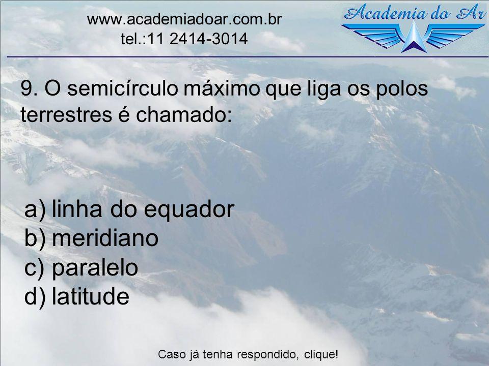 9. O semicírculo máximo que liga os polos terrestres é chamado: www.academiadoar.com.br tel.:11 2414-3014 a)linha do equador b)meridiano c)paralelo d)