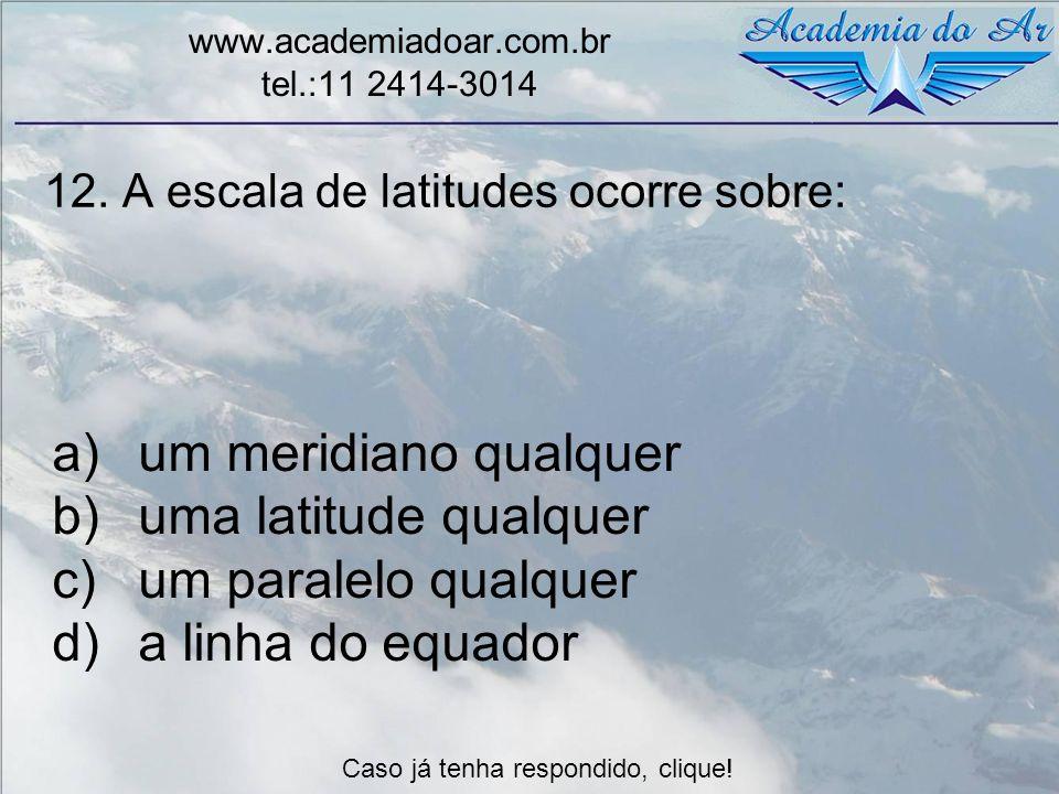 12. A escala de latitudes ocorre sobre: www.academiadoar.com.br tel.:11 2414-3014 a)um meridiano qualquer b)uma latitude qualquer c)um paralelo qualqu