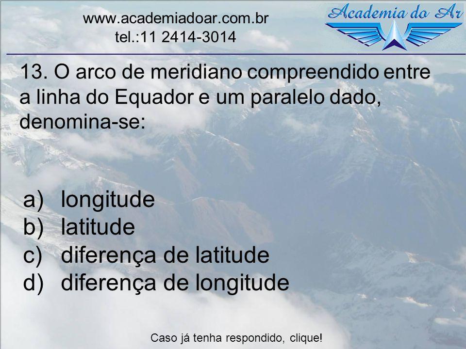 13. O arco de meridiano compreendido entre a linha do Equador e um paralelo dado, denomina-se: www.academiadoar.com.br tel.:11 2414-3014 a)longitude b