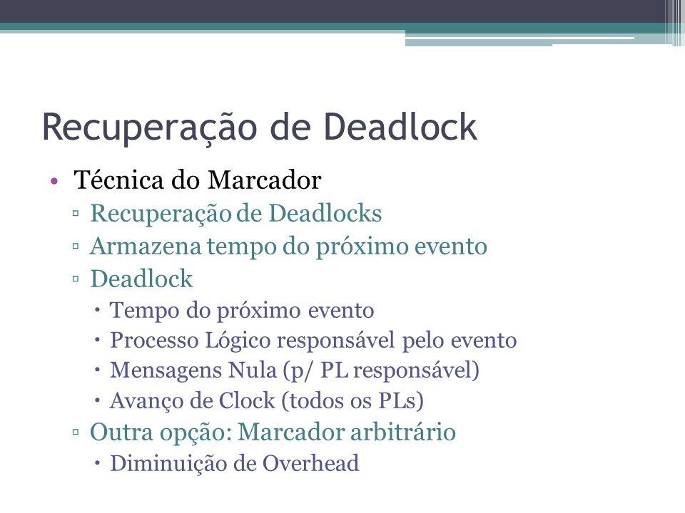 Recuperação de Deadlock Técnica do Marcador Recuperação de Deadlocks Armazena tempo do próximo evento Deadlock Tempo do próximo evento Processo Lógico responsável pelo evento Mensagens Nula (p/ PL responsável) Avanço de Clock (todos os PLs) Outra opção: Marcador arbitrário Diminuição de Overhead