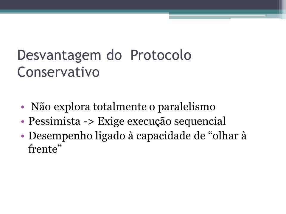 Desvantagem do Protocolo Conservativo Não explora totalmente o paralelismo Pessimista -> Exige execução sequencial Desempenho ligado à capacidade de olhar à frente