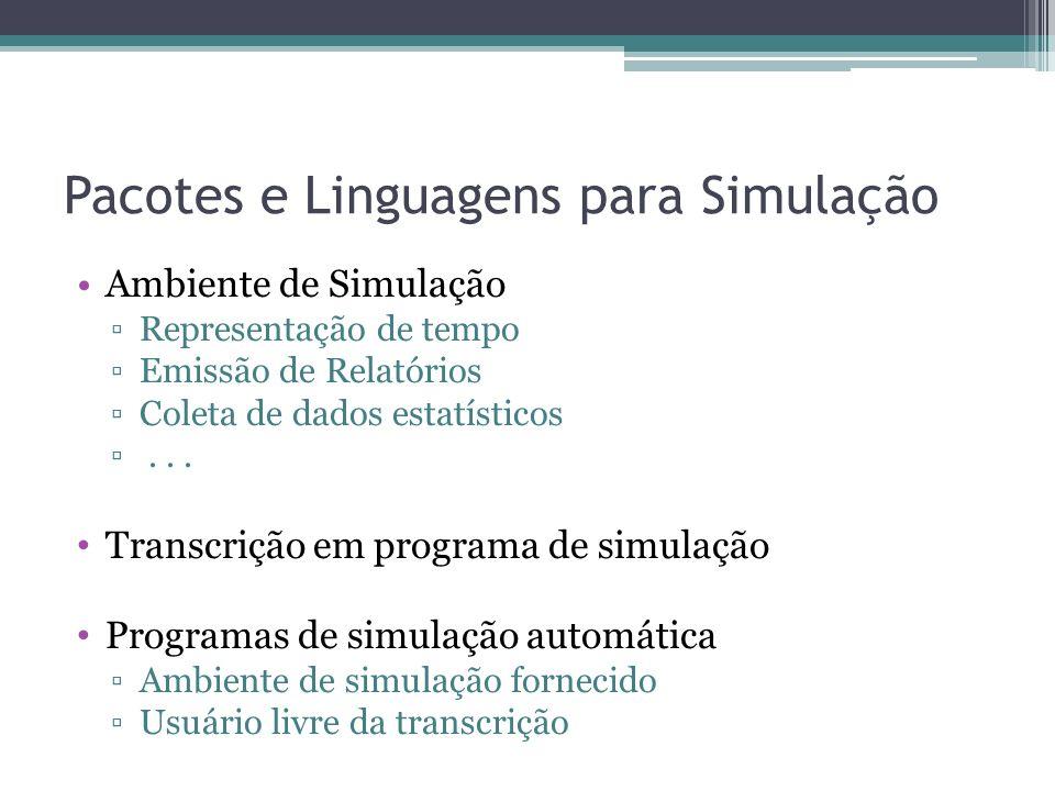 Pacotes e Linguagens para Simulação Ambiente de Simulação Representação de tempo Emissão de Relatórios Coleta de dados estatísticos...