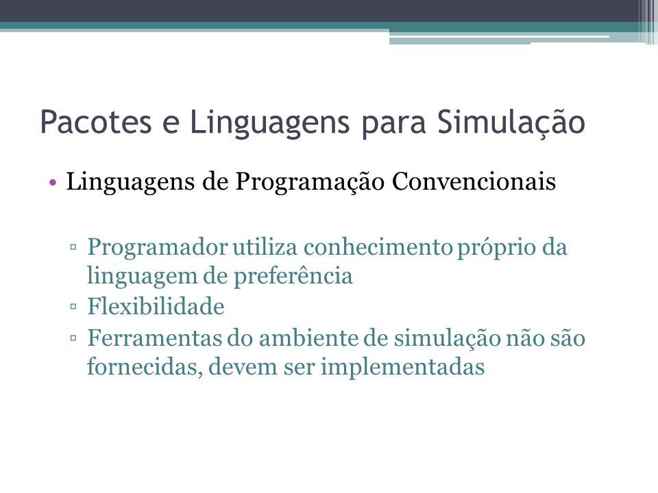 Pacotes e Linguagens para Simulação Linguagens de Programação Convencionais Programador utiliza conhecimento próprio da linguagem de preferência Flexibilidade Ferramentas do ambiente de simulação não são fornecidas, devem ser implementadas