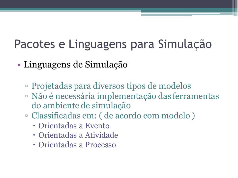 Pacotes e Linguagens para Simulação Linguagens de Simulação Projetadas para diversos tipos de modelos Não é necessária implementação das ferramentas do ambiente de simulação Classificadas em: ( de acordo com modelo ) Orientadas a Evento Orientadas a Atividade Orientadas a Processo