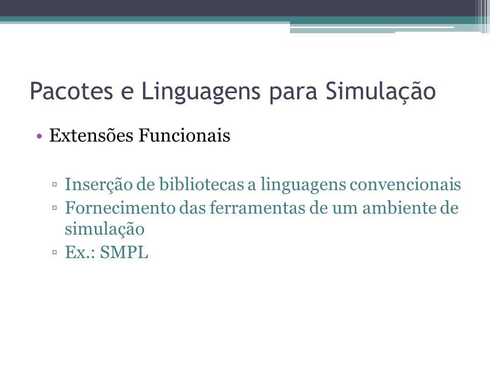 Pacotes e Linguagens para Simulação Extensões Funcionais Inserção de bibliotecas a linguagens convencionais Fornecimento das ferramentas de um ambiente de simulação Ex.: SMPL