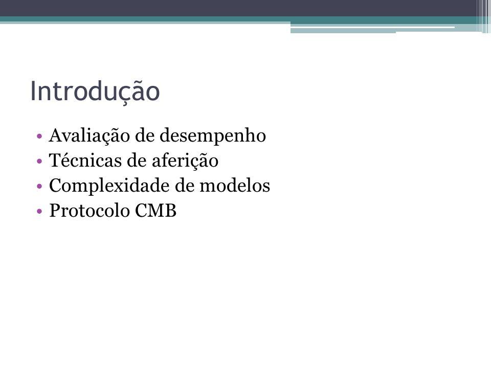 Introdução Avaliação de desempenho Técnicas de aferição Complexidade de modelos Protocolo CMB