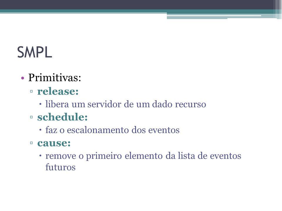 SMPL Primitivas: release: libera um servidor de um dado recurso schedule: faz o escalonamento dos eventos cause: remove o primeiro elemento da lista de eventos futuros