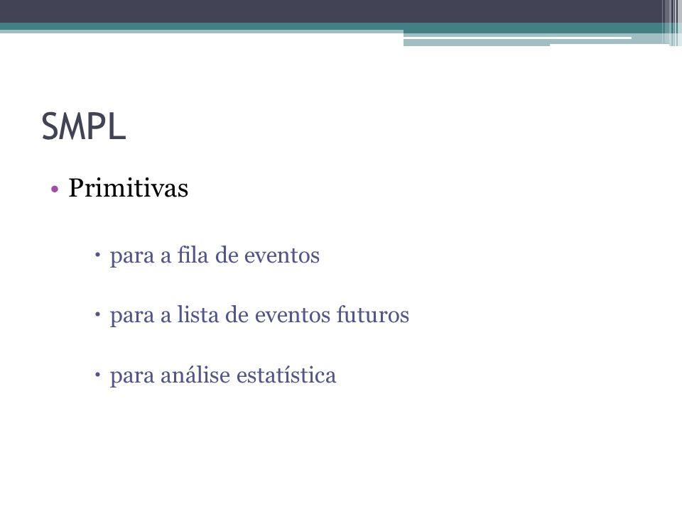 SMPL Primitivas para a fila de eventos para a lista de eventos futuros para análise estatística